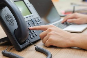Person making VoIP call